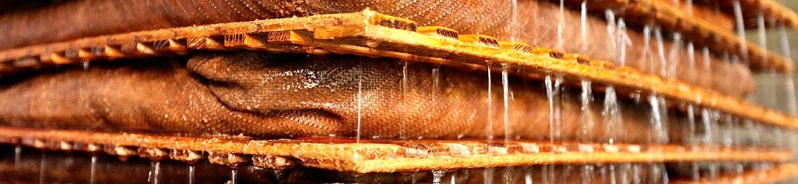 Pressurage des poires à poiré avec une presse à paquet