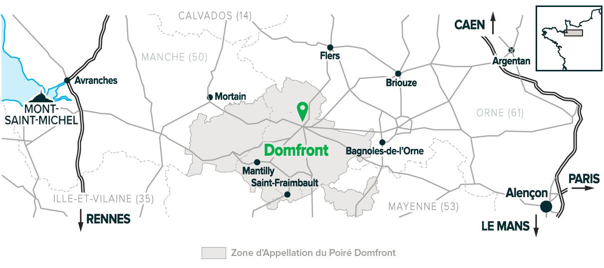 La zone d'appellation de l'AOP Domfront